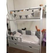 Деревянная кровать Домик с ящиками