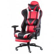 Кресло офисное кожаное ExtremeRace black/red with footrest