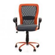Офисное регулируемое  кресло с дышащей спинкой LENO, Grey-Orange